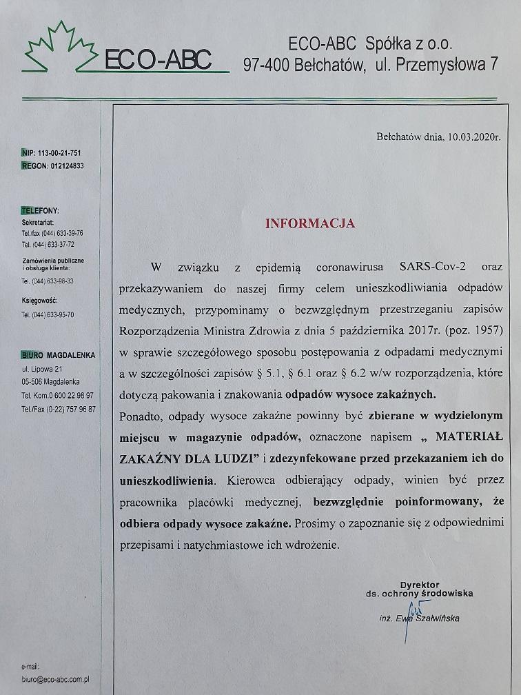Ważna informacja w związku z SARS-Cov-2