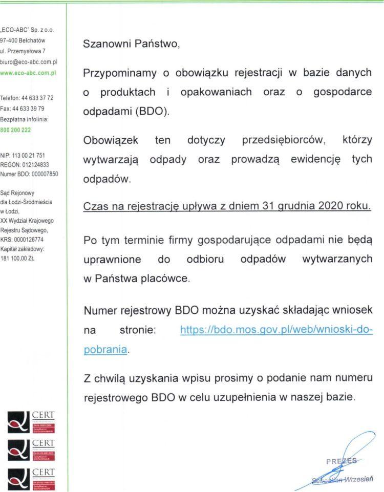 Informacja dla kontrahentów dotycząca wpisu do BDO